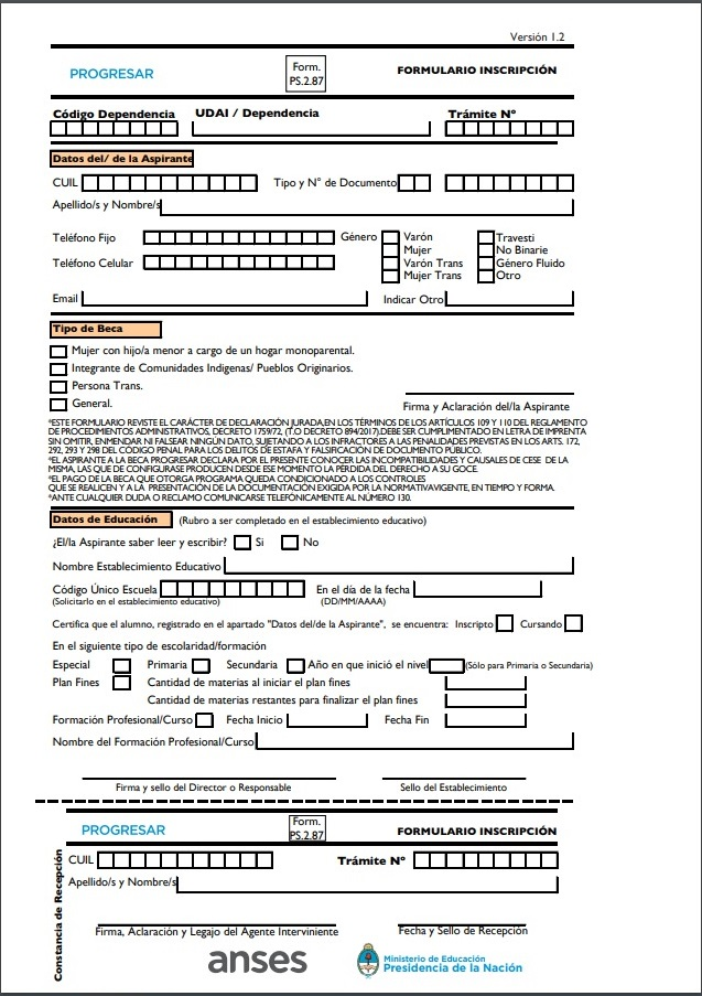 Formulario Progresar PS 2.87