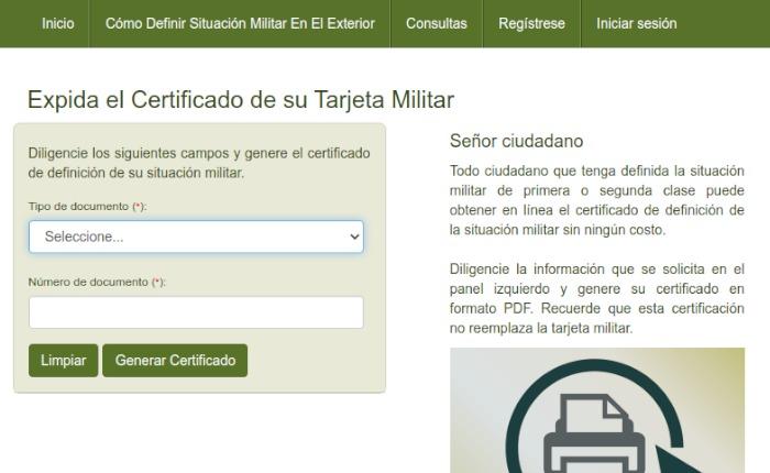Certificado de tarjeta Militar