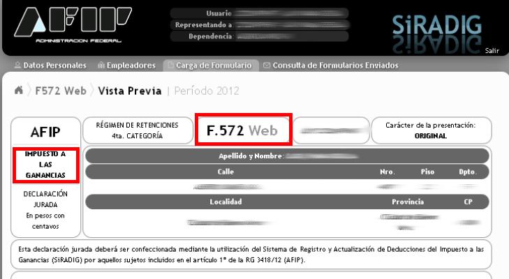 formulario 572 web afip