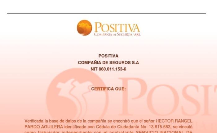compañia arl positiva colombia cobertura riesgos certificado
