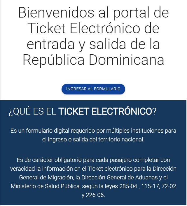 e-ticket viajar a republica dominicana