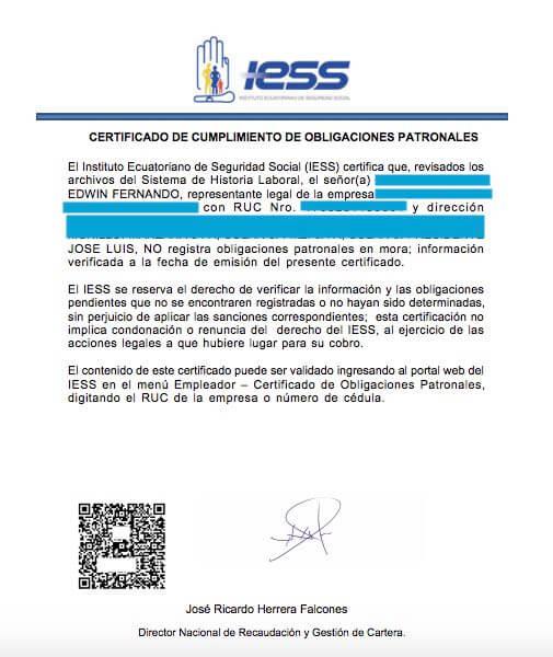 ejemplo certificado de no adeudar al IESS