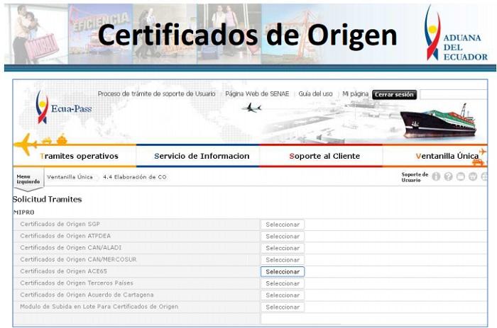 certificado de origen en Ecuador