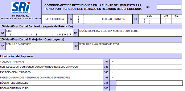 formulario 107 del SRI