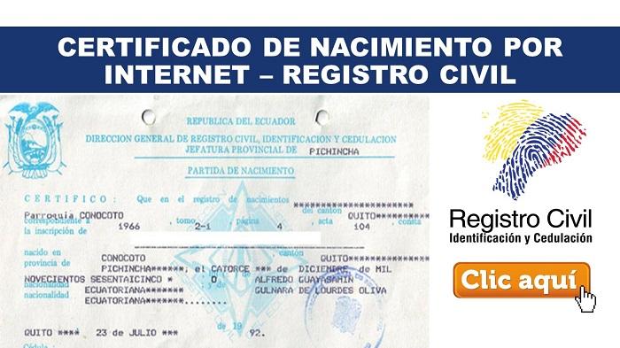 sacar certificado de nacimiento en Ecuador
