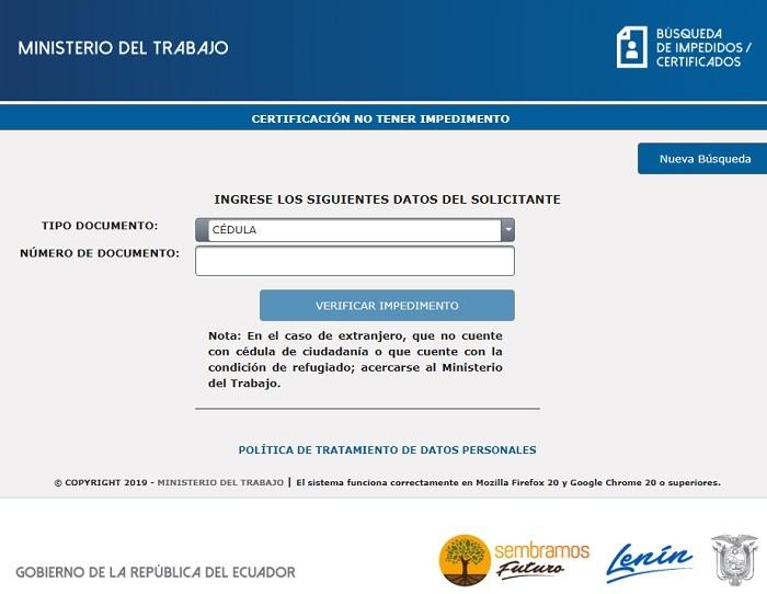 obtener el Certificado de no tener impedimento para ejercer cargo público